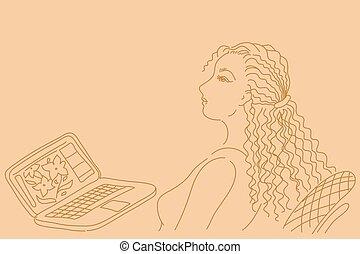 vrouw zaak, werkende , laptop computer, mooi
