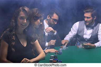 vrouw zaak, zittende , moderne, casino., craps lijst
