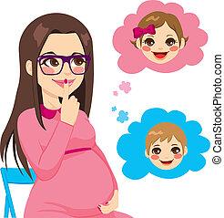 vrouw, zich verwonderend over, zwangere