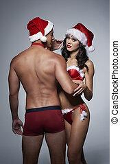 vrouw, zijn, kerstman, omhelzen, hoedje, man