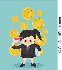 vrouw, zijn, plat, handel illustratie, concept., geld., vector, verliezen
