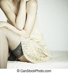 vrouw zitten, foto, jonge, mode, sofa, seksuele