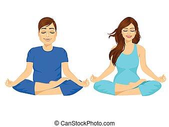 vrouw zitten, man, yoga houding