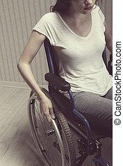 vrouw zitten, op, wheelchair