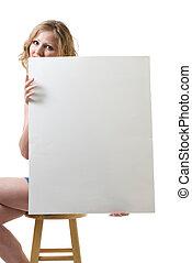vrouw zitten, vasthouden, leeg teken