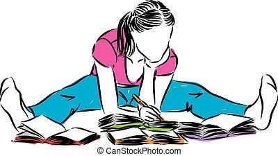 vrouw zitten, writting, jonge, illustratie, lezende