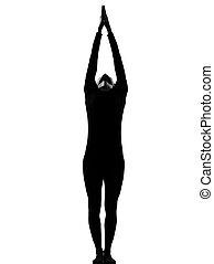 vrouw, zon, begroeting, yoga, surya, namaskar, pose