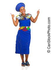 vrouw, zulu, geven, jonge, op, duimen, afrikaan