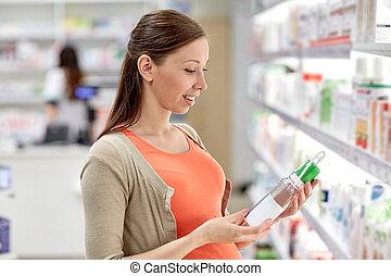 vrouw, zwangere , apotheek, kies, lotion, vrolijke