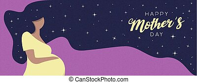 vrouw, zwangere , moeders dag, kaart, vrolijke