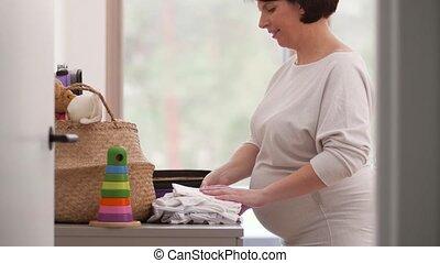 vrouw, zwangere , ziekenhuis, zak, pakking, moederschap
