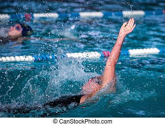 vrouw, zwemmen, hardloop, rugslag