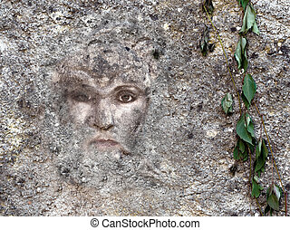 vrouwelijk gezicht, ingebedde, in, wall., geestelijk, goed is, concept