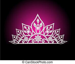 vrouwelijk, parel, trouwfeest, diadeem, roos