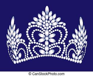 vrouwelijk, trouwfeest, diadeem, parel