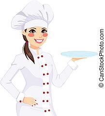 vrouwelijke chef-kok, vasthouden, lege, schaaltje
