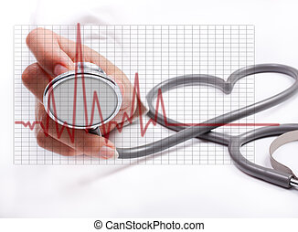 vrouwelijke hand, vasthouden, stethoscope;, gezondheidszorg,...