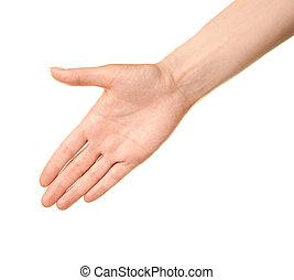 vrouwelijke hand, vrijstaand, gebaar, kaukasisch