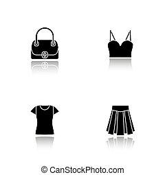 vrouwen, accessoires, black , schaduw, iconen, set, druppel