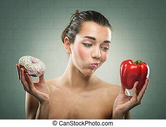 vrouwen, diet., donut, of, klokje pepeert, ?