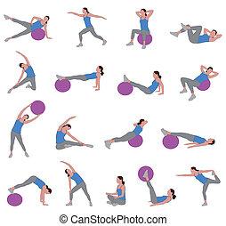 vrouwen, doen, pilates
