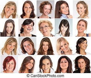 vrouwen, glimlachen