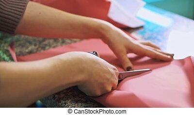 vrouwen, handen, knippen, met, schaar, omhulsel, paper.,...