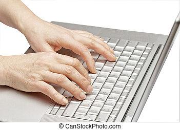 vrouwen, handen, met, een, computer