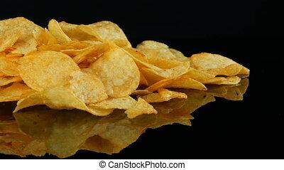 vrouwen, handen, nemen, aardappelchips, leugen, op, een,...