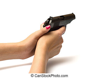 vrouwen, handgun.