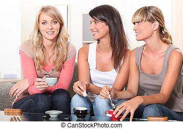 vrouwen, hebben, een, koffie