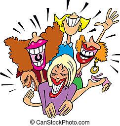 vrouwen, hebbend plezier, en, lachen