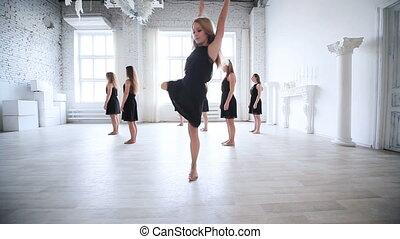vrouwen, het dansen., team
