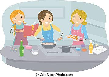 vrouwen, het koken
