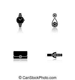 vrouwen, iconen, druppel, accessoires, black , set, schaduw