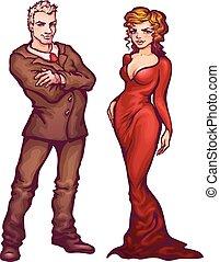 vrouwen, illustratie, man, vector, elegant