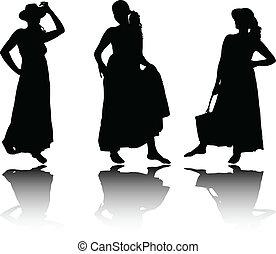 vrouwen, in, de kleding van de zomer, silhouettes