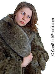 vrouwen, in, een, natuurlijke , pelsjas