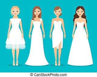 vrouwen, jurken, trouwfeest