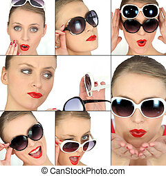vrouwen, kies, zonnebrillen