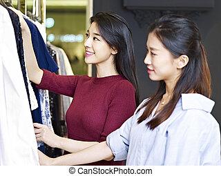 vrouwen, kleding, jonge, winkel, aziaat