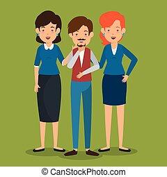vrouwen, mannen, groep, zakenlui
