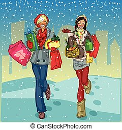 vrouwen, met, het winkelen zakken, en, kado, dozen, wandelende