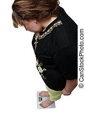 vrouwen, met, overgewicht, kijkend, schalen