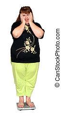 vrouwen, met, overgewicht, op, schalen