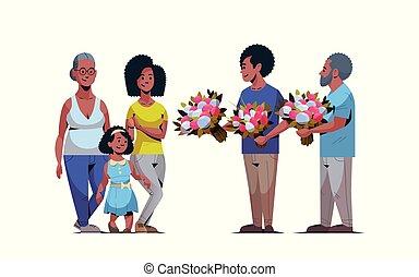 vrouwen, multi, concept, maart, gezin, generatie, mannen, amerikaan, feliciteren, internationaal, geven, lengte, volle, karakters, afrikaan, 8, horizontaal, bloemen, dag, vrolijke