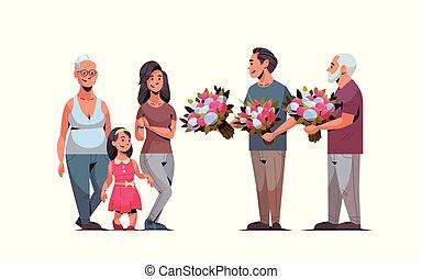 vrouwen, multi, concept, maart, vrouwlijk, gezin, generatie, mannen, mannelijke , feliciteren, geven, lengte, volle, karakters, internationaal, 8, horizontaal, bloemen, dag, vrolijke