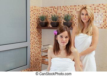 vrouwen, op, spa