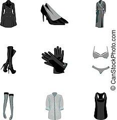 vrouwen, pictogram, liggen, vrouw, girls., kleren, symbool, clothing., bovenkleding, monochroom, vector, vrouwen, set, types, verzameling, afbeeldingen, over, stijl, ondergoed, illustration.