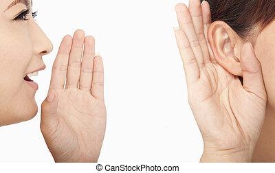 vrouwen pratende, en, het luisteren, om te, roddel